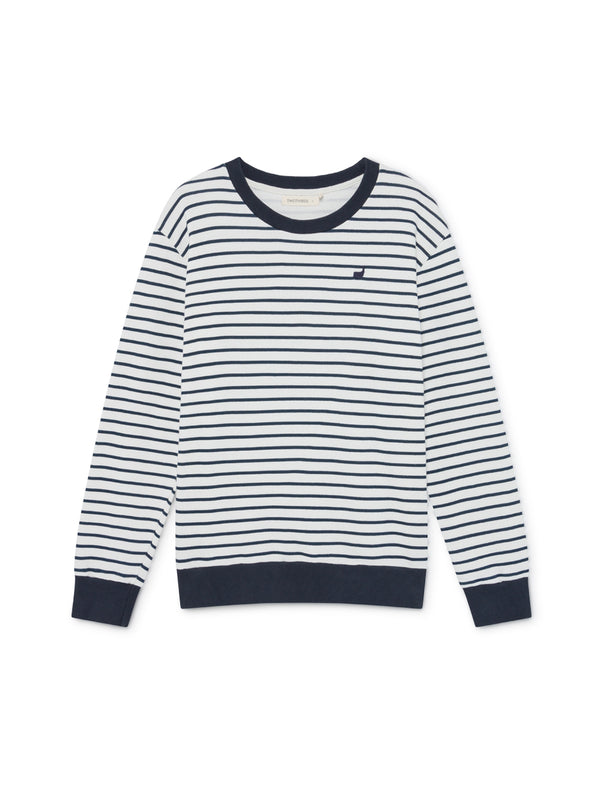 TWOTHIRDS Mens Sweat: Addu - white and black stripes - product close up front