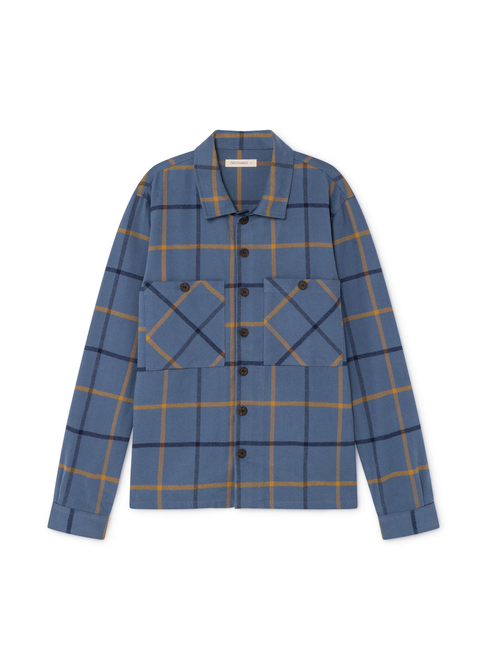 TWOTHIRDS Mens Shirt: Briñas - Blue Check front