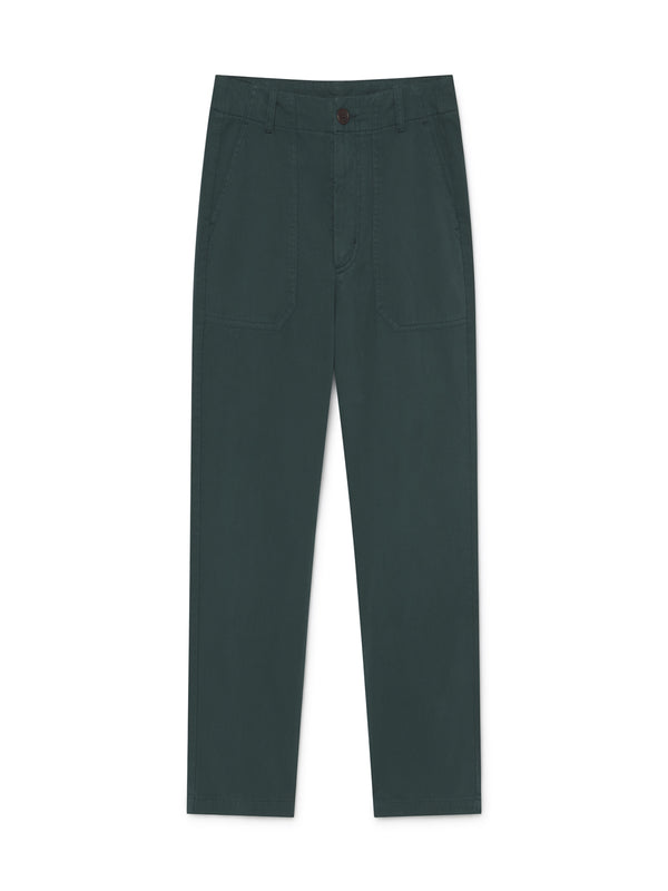 TWOTHIRDS Womens Pants: Kent - Dark Green front