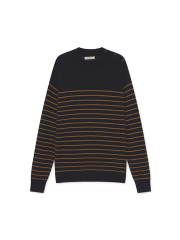 TWOTHIRDS Mens Knit: Leros - Navy/Mustard front