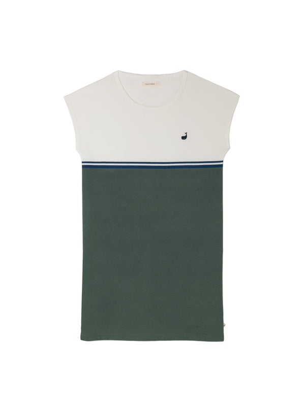 Quenac Dress - Ecrue / Dusty Green