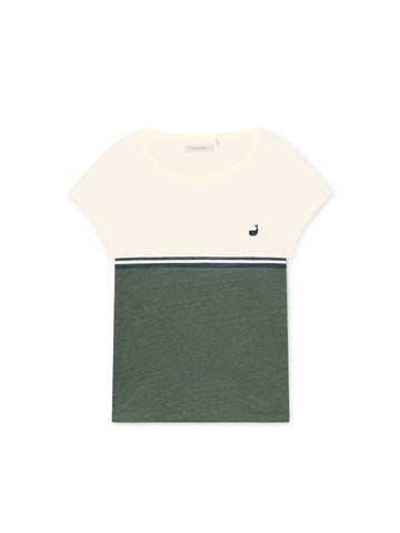 TWOTHIRDS Womens Tee: Quenac - Ecrue/Dusty Green front