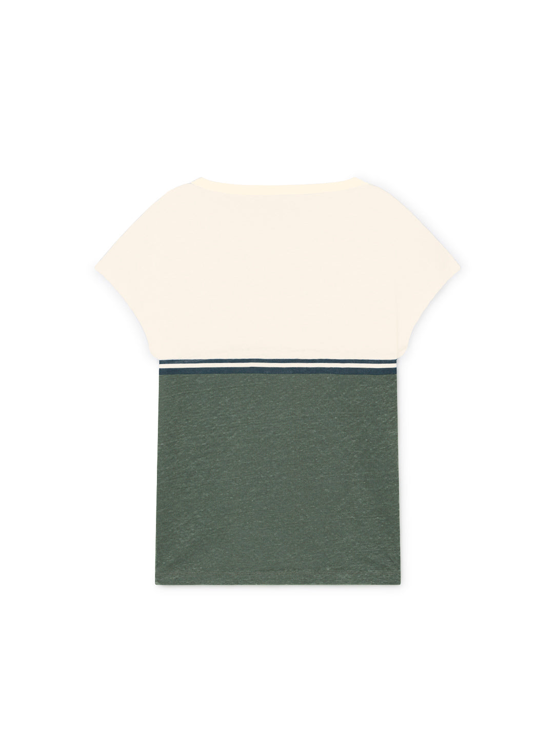 TWOTHIRDS Womens Tee: Quenac - Ecrue/Dusty Green back