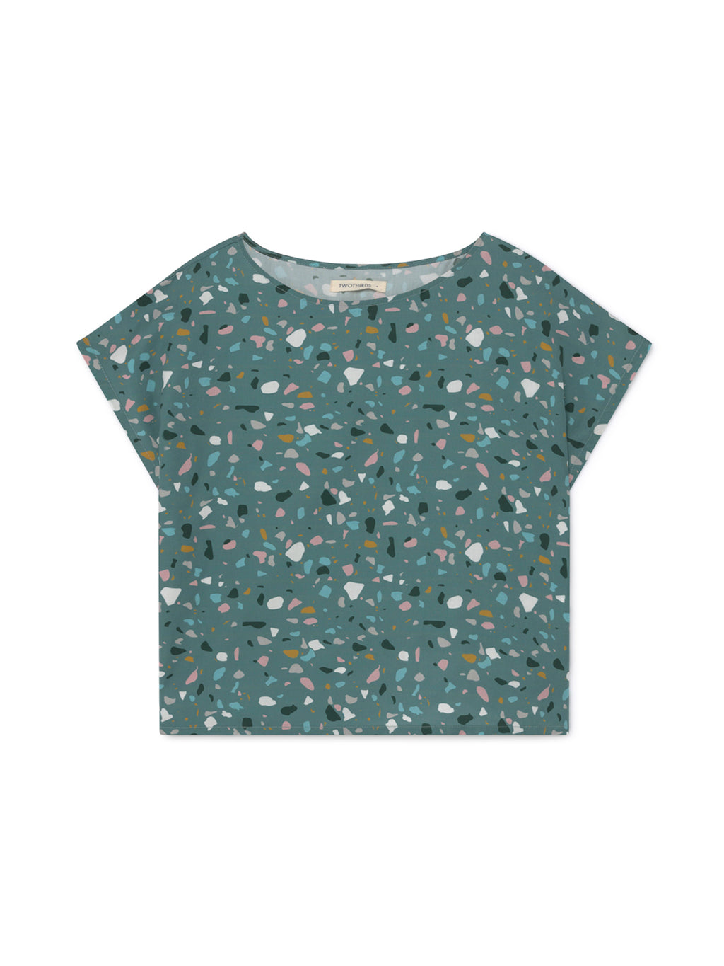 TWOTHIRDS Womens Top: Santa Ines - Dusty Blue Terrazo Print front
