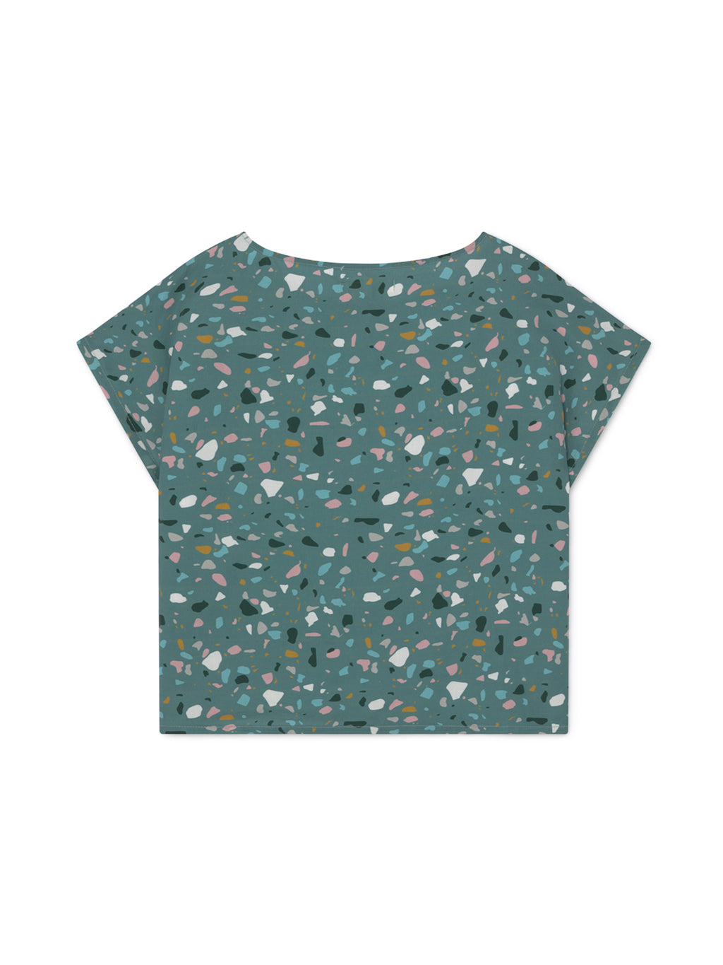 TWOTHIRDS Womens Top: Santa Ines - Dusty Blue Terrazo Print back