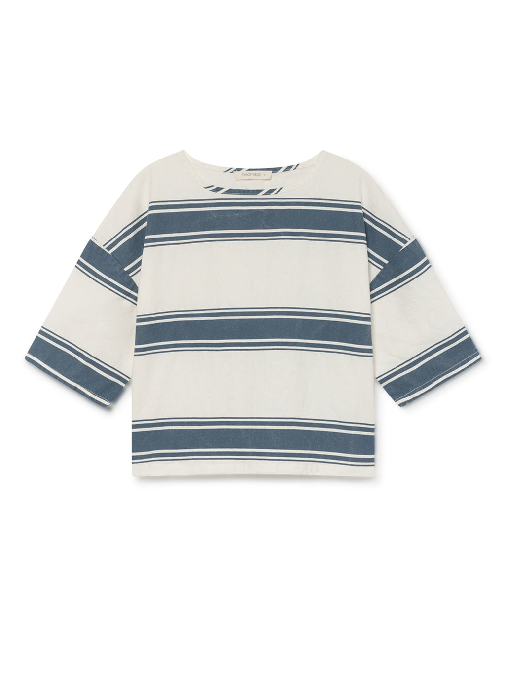 TWOTHIRDS Womens Top: Tilou - Blue Stripes front