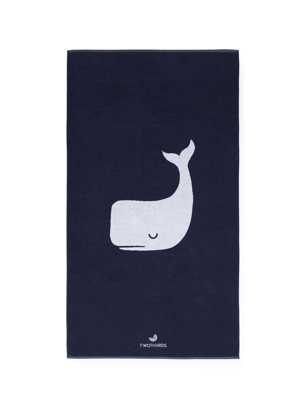 Big Beach Towel Whale - Navy