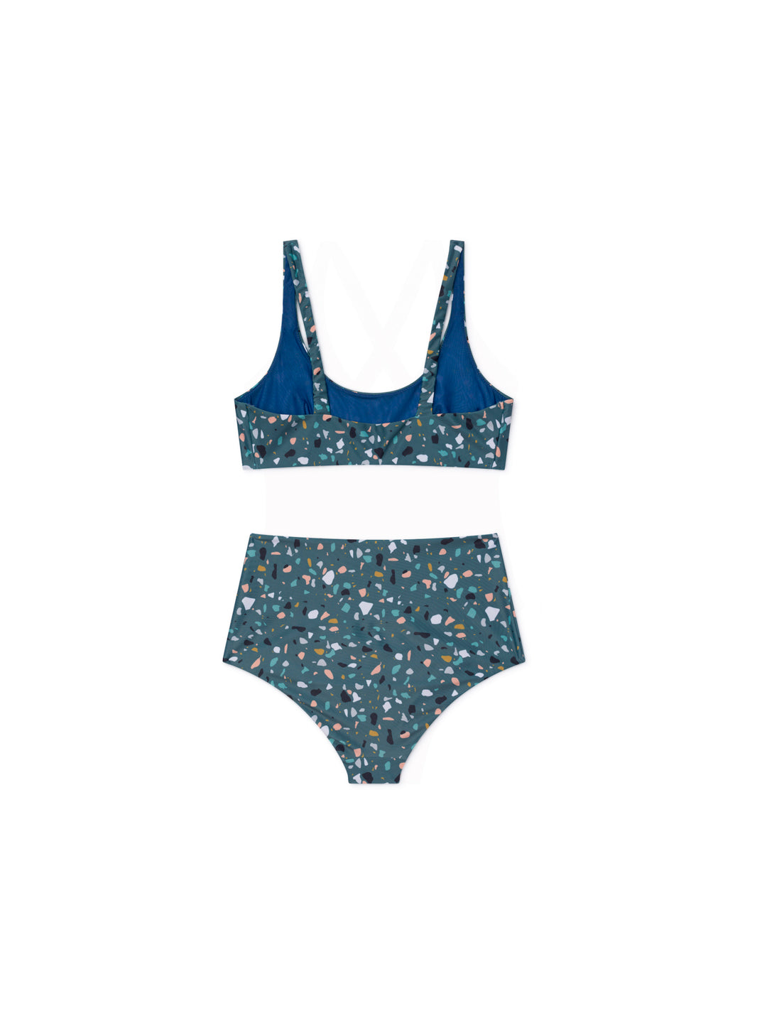 TWOTHIRDS Womens Swimwear: Wellington - Terrazo Blue back