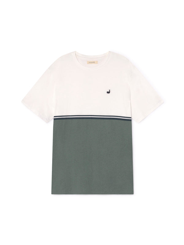 TWOTHIRDS Male Tee: Williams - Ecrue / Dusty Green front