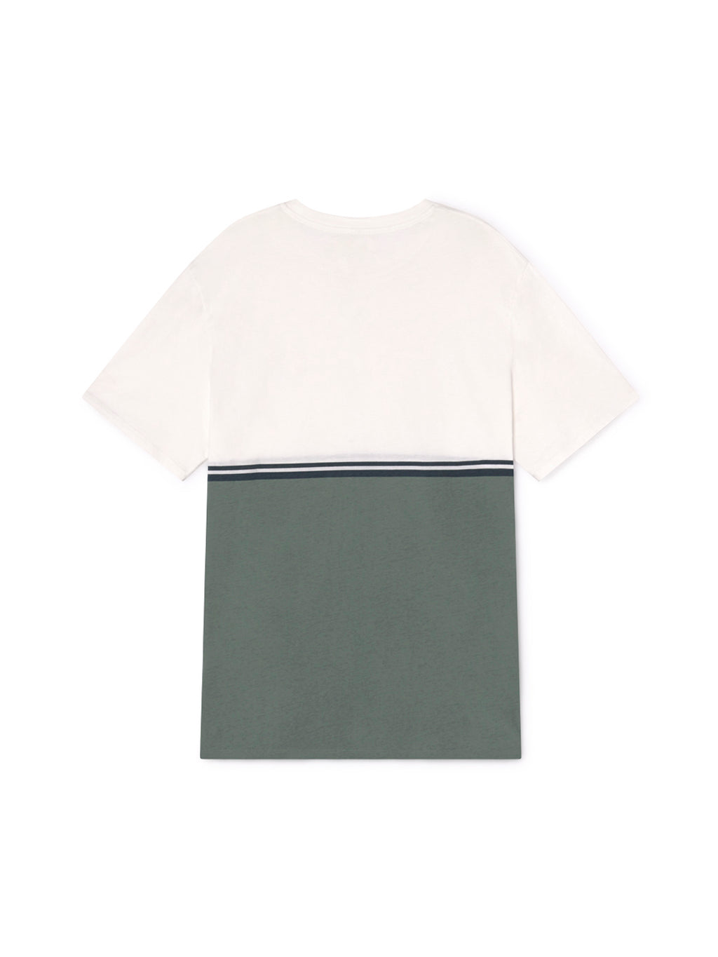 TWOTHIRDS Male Tee: Williams - Ecrue / Dusty Green back