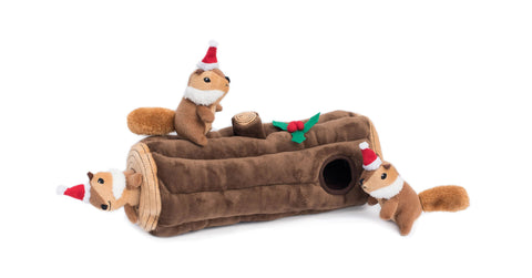 Zippy-Paws-Holiday-Burrow-Toy-Yule-Log-Pawfect-Stocking-Stuffers