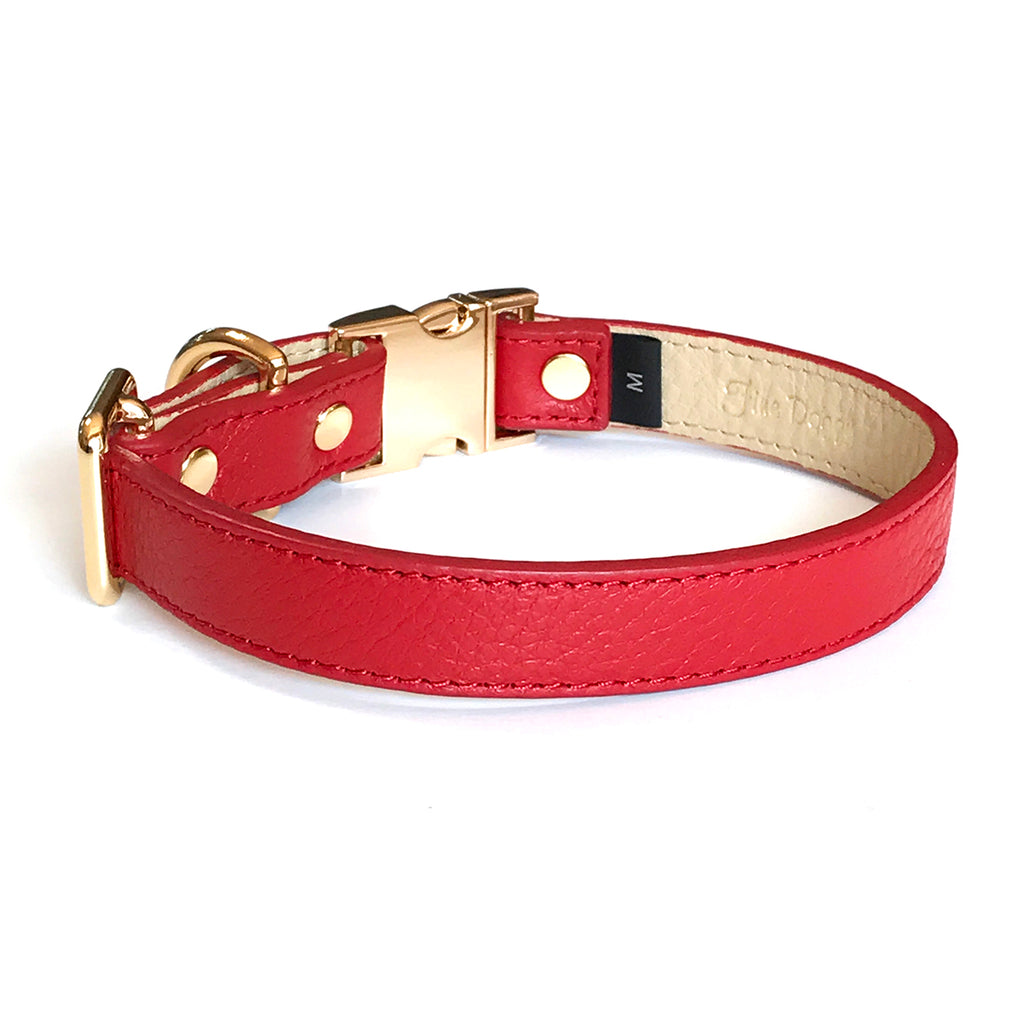 Fine Doggy Adjustable Red Leather Dog Collar