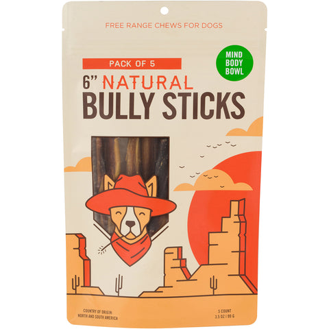 "MIND BODY BOWL 6"" Bully Stick (5 pack) Dog Treats"