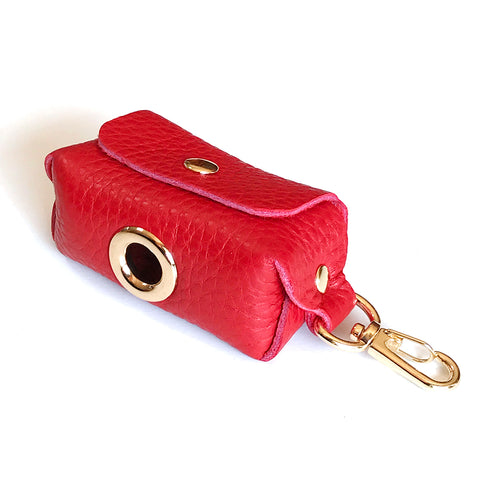 Fine Doggy Red Leather Leash Waste Bag Holder