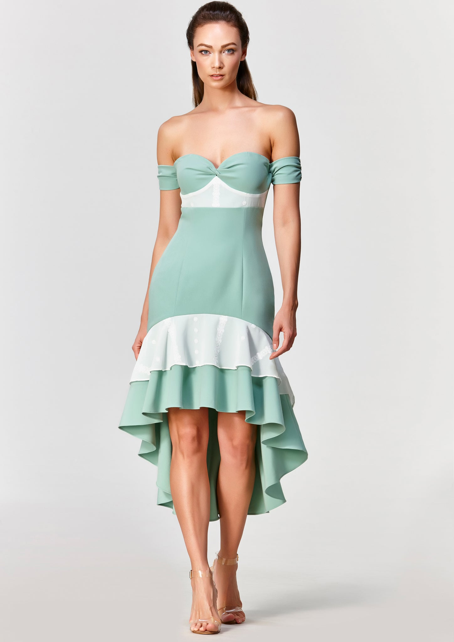 Dawn Off Shoulder Mermaid Dress (Green)