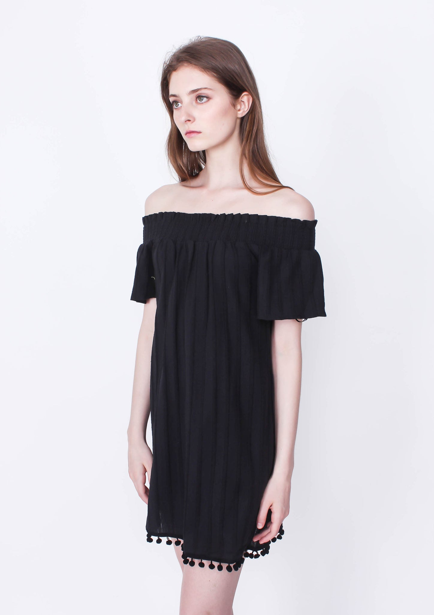In Touch Off Shoulder Dress (Black)