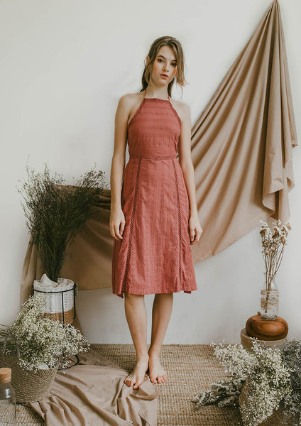 Maya Cut-In Shoulder Midi Dress (Terracotta) - Moxie