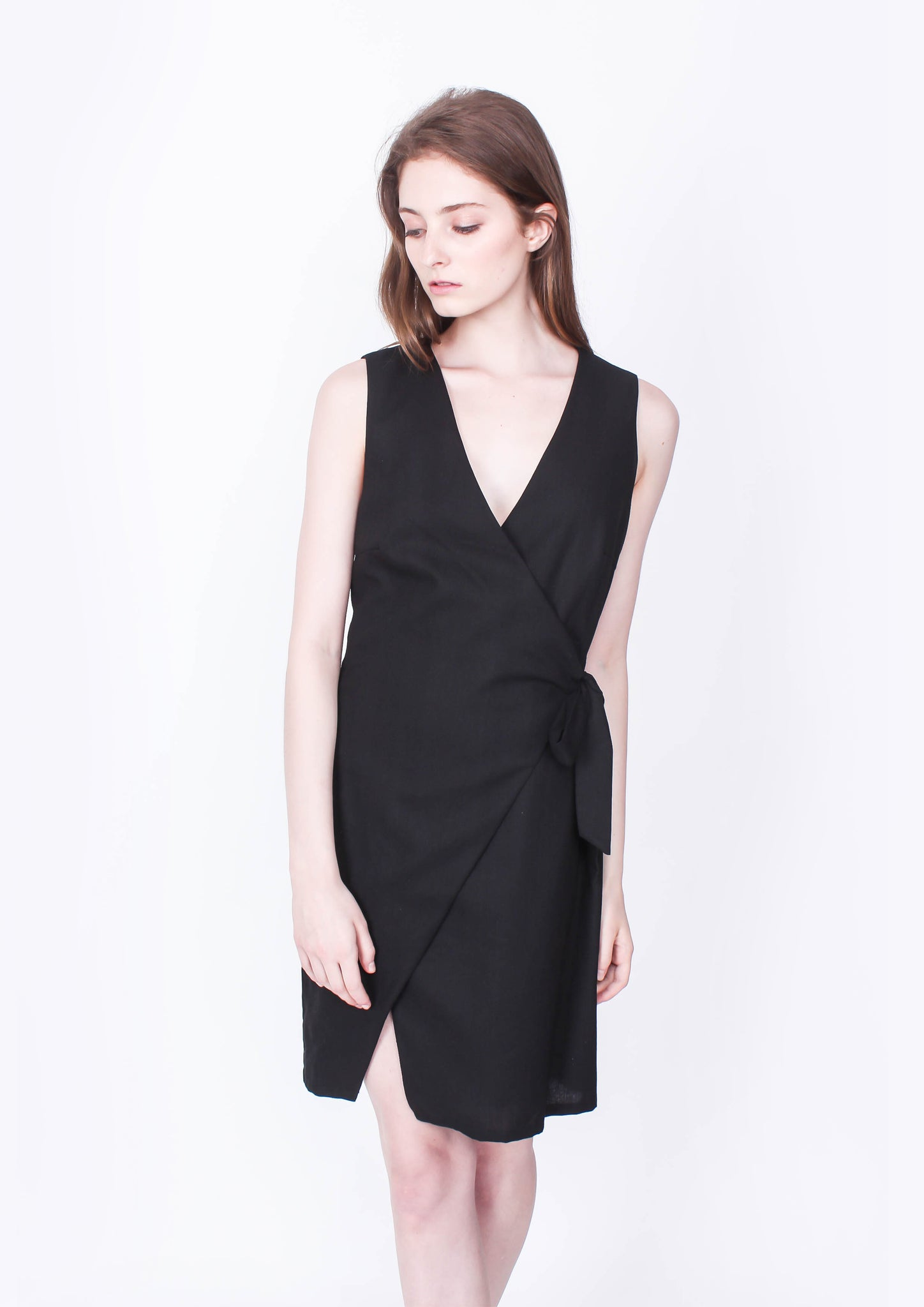 Linen Wrap Dress (Black) - Moxie