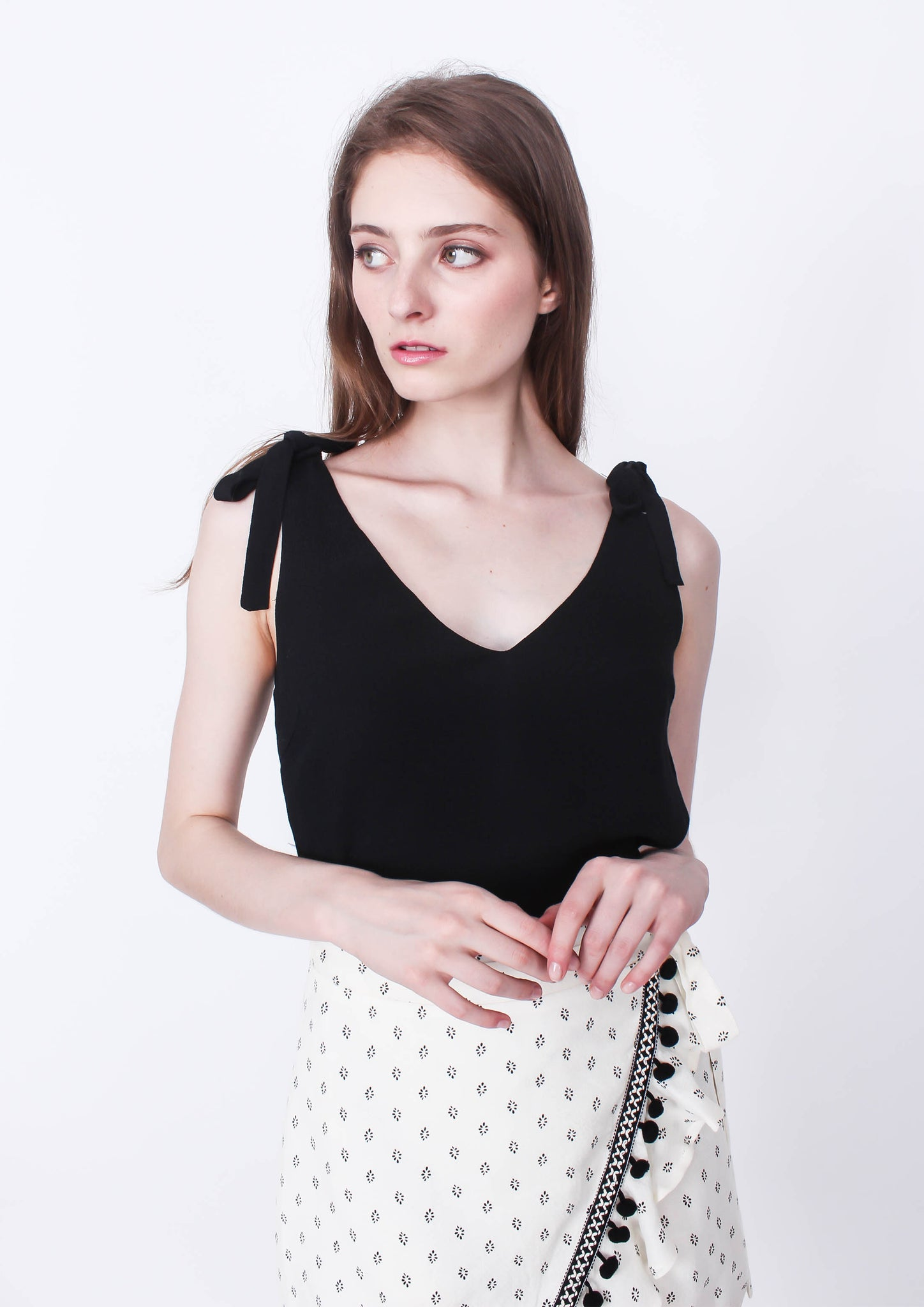Solstice Tie Shoulder Top (Black) - Moxie