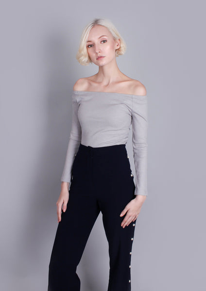 Bardot Rib Top (Grey)