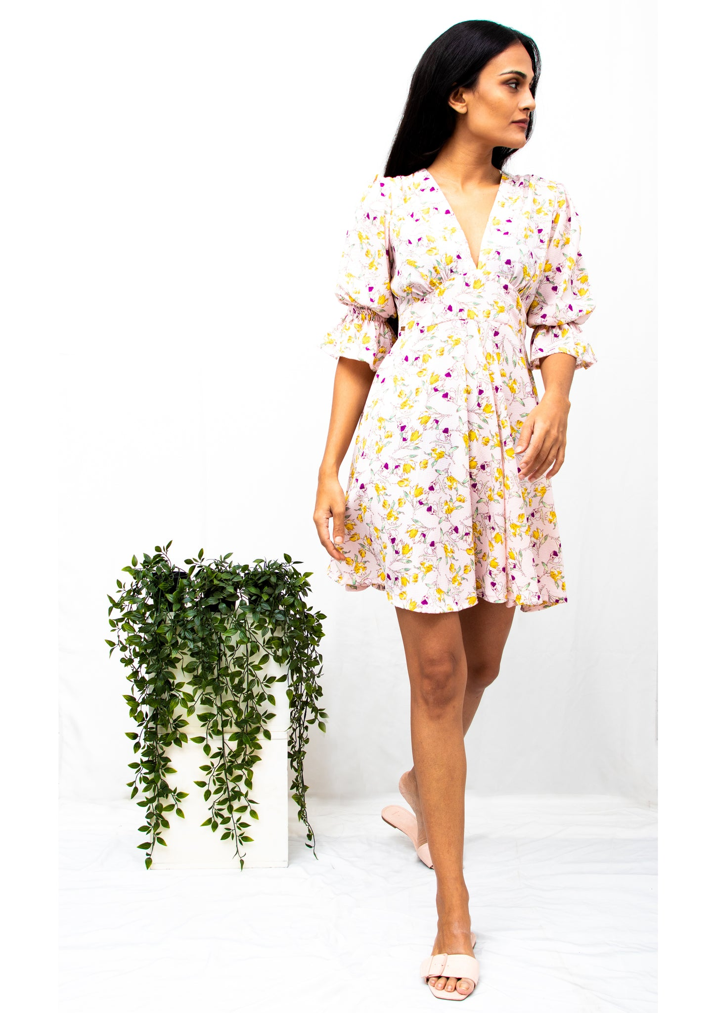 Poplin Puffed Sleeve Floral Dress (Pink)