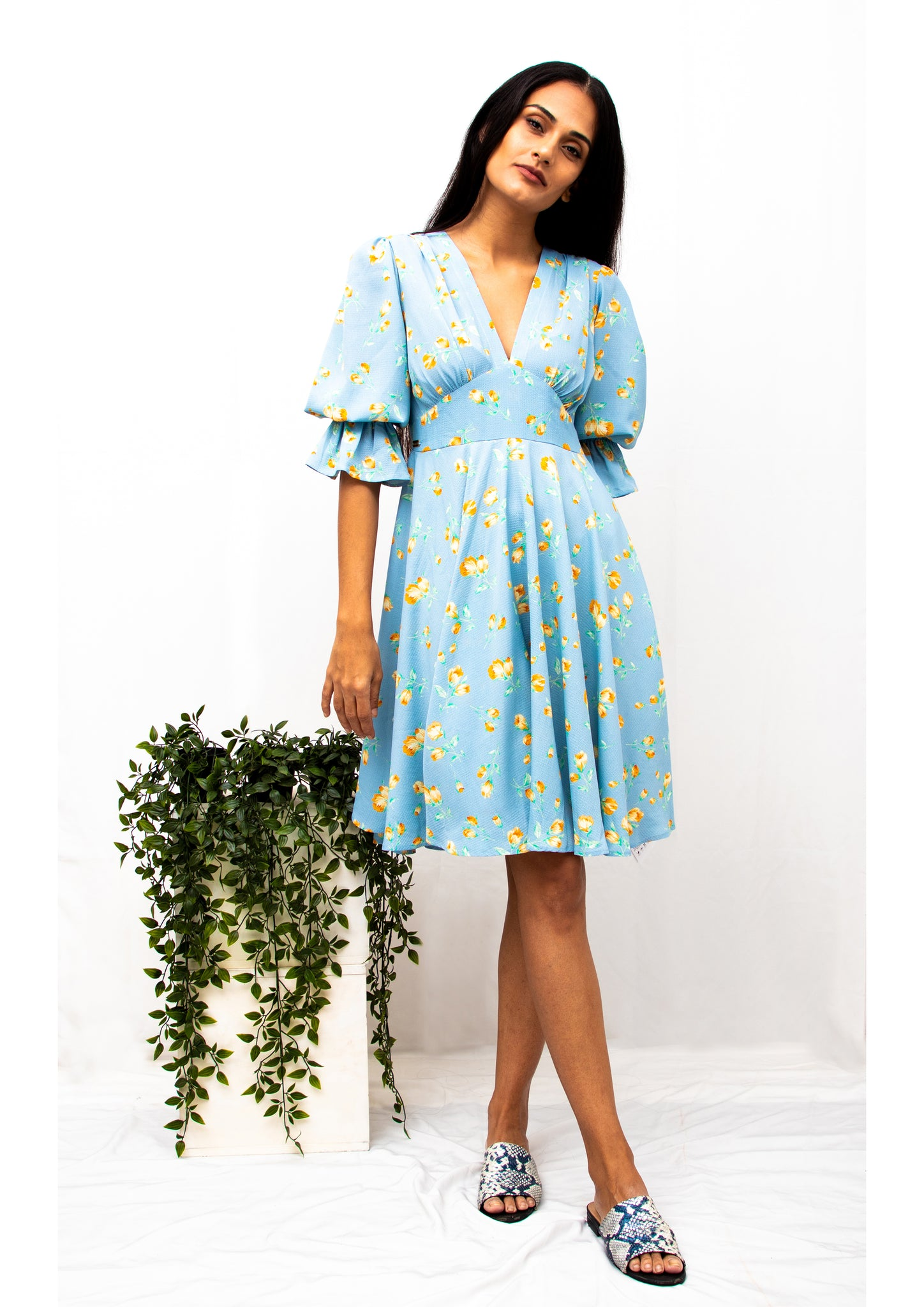 Poplin Puffed Sleeve Floral Dress (Blue) - Moxie