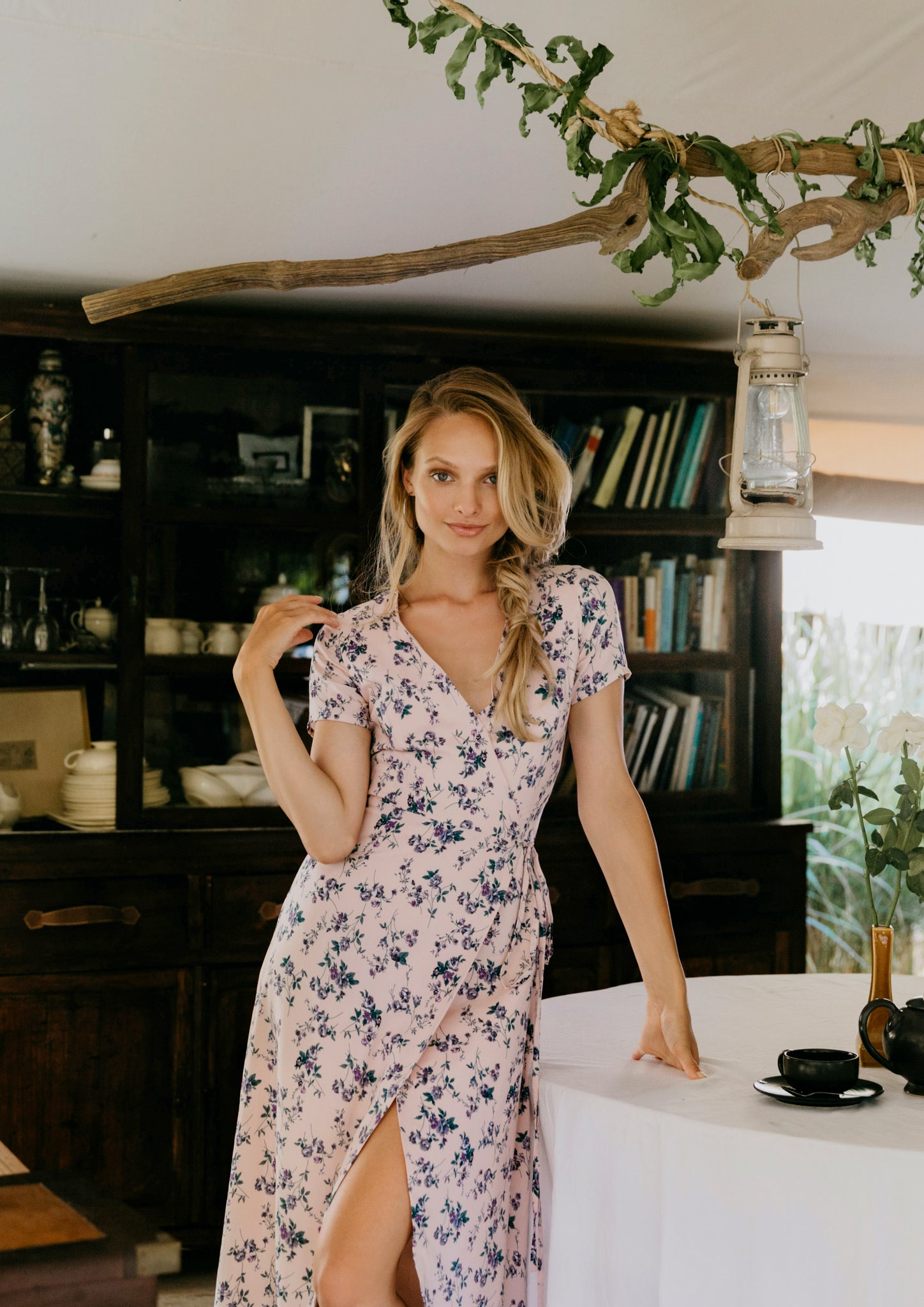 Wander Floral Wrap Dress (Pink)