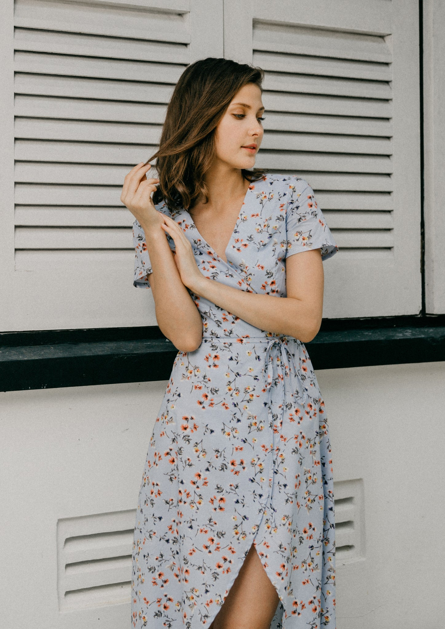 Wander Floral Wrap Dress (Sky Blue)