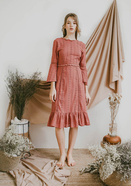 Layla Long Sleeve Midi Dress (Terracota)