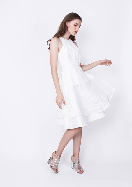 Goldmine Dress (White) - Moxie
