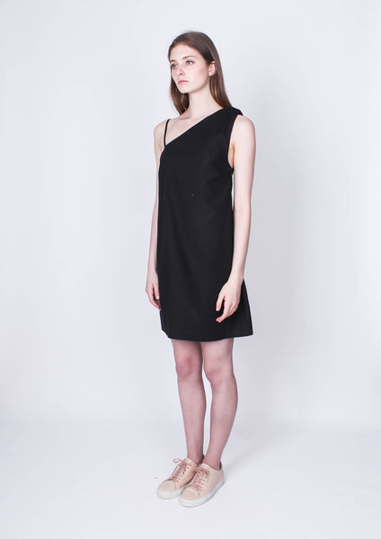 One Shoulder Shift Dress (Black)