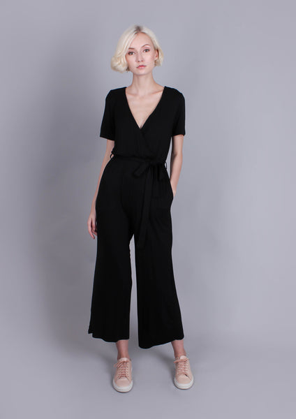 Slinky Wrap Cropped Jumpsuit