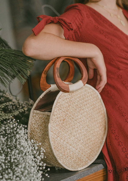 Malika Large Round Weave Bag (Natural)