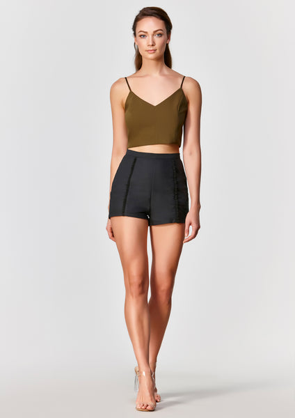 Dawn High Waisted Shorts (Black) - Moxie