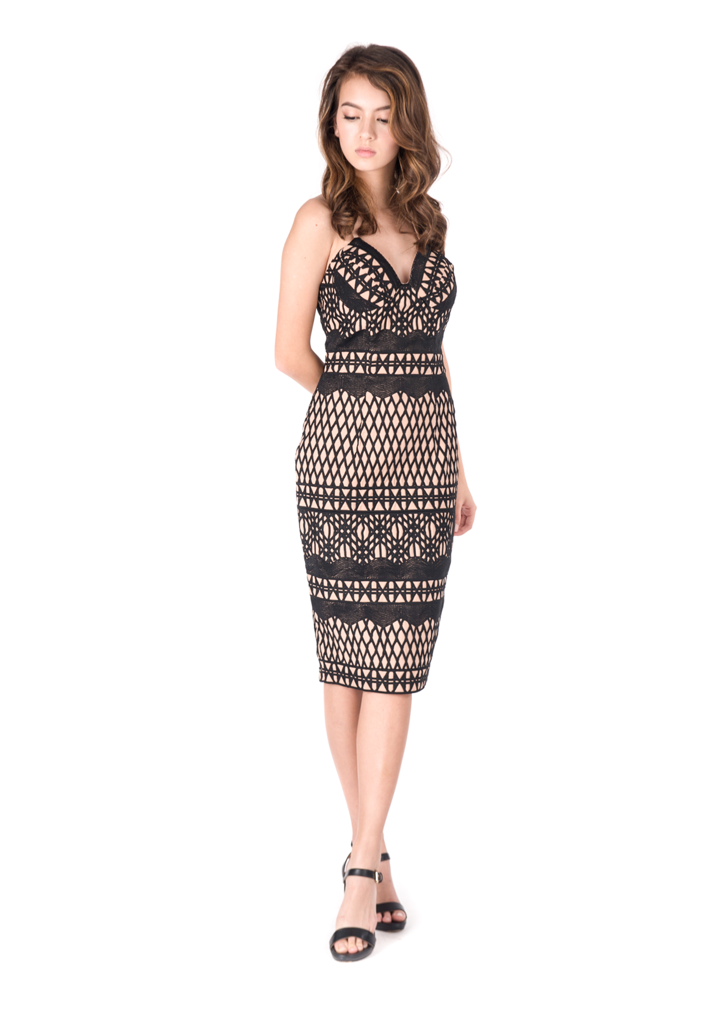 Caroline Embroidered Pencil Dress (Black) - Moxie