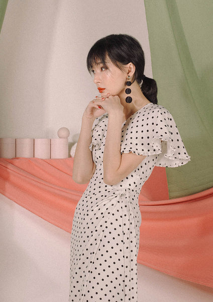 Alula Midi Dress (Polka Dots) - Moxie