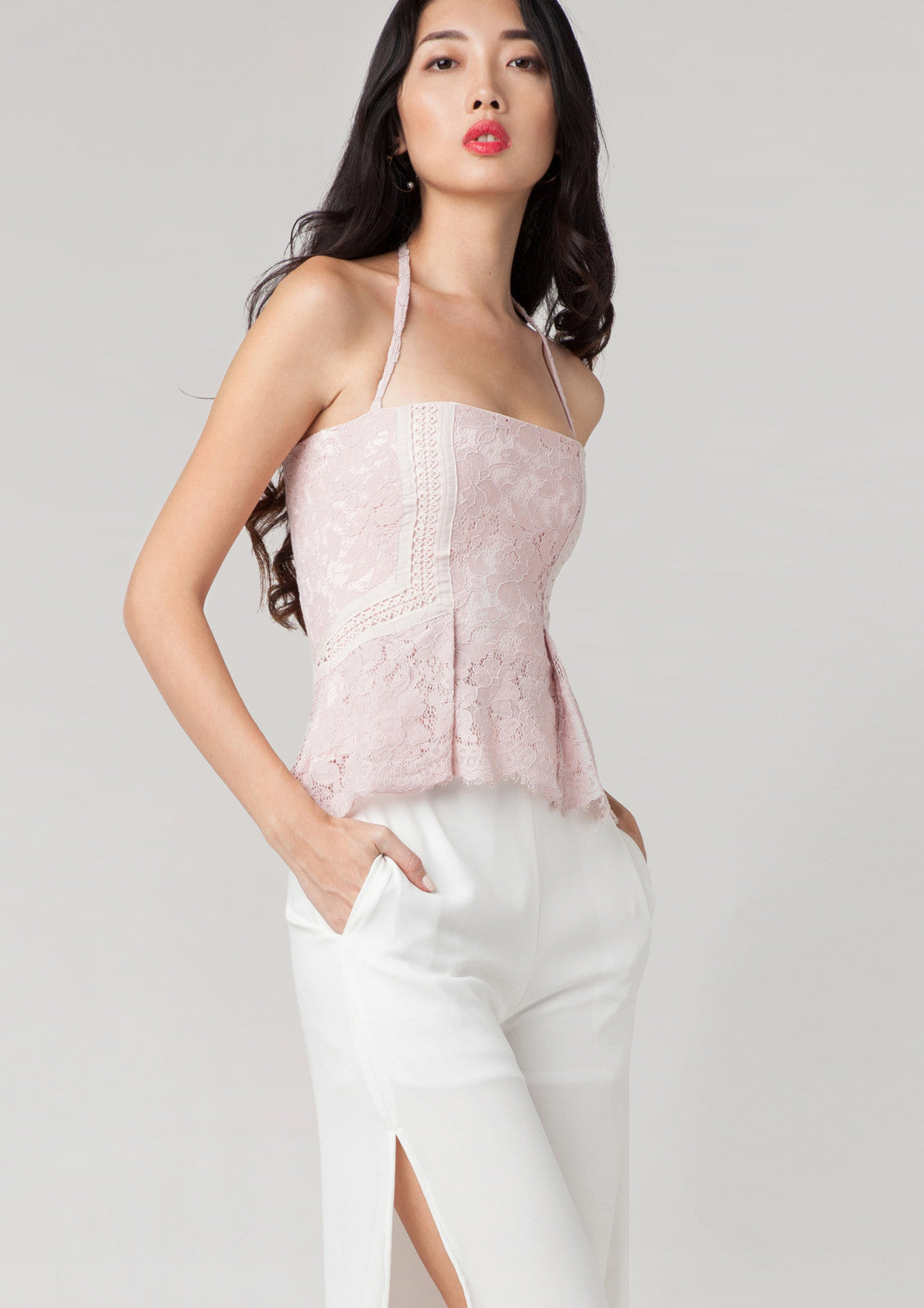Alexandra Lace Pleated Bustier (Pale Pink)