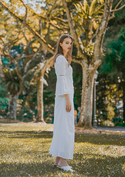 Blythe Flared Sleeve Maxi Dress (White) - Moxie