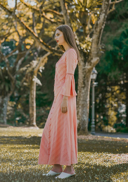 Blythe Flared Sleeve Maxi Dress (Sorbet) - Moxie