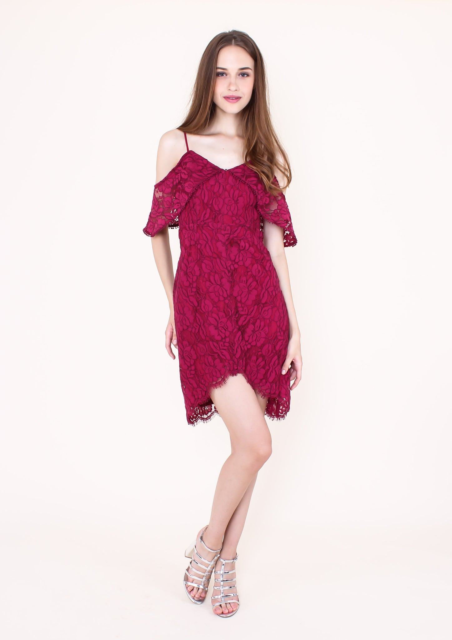 Blossom Lace Cold Shoulder Ruffle Dress (Magenta)