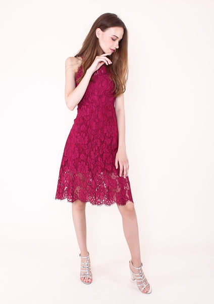 Blossom Lace Halter Neck Dress (Magenta)