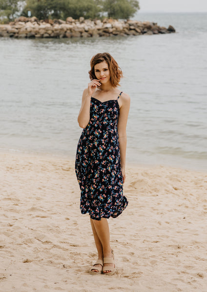Kyra Spaghetti Strap Midi Dress (Navy)