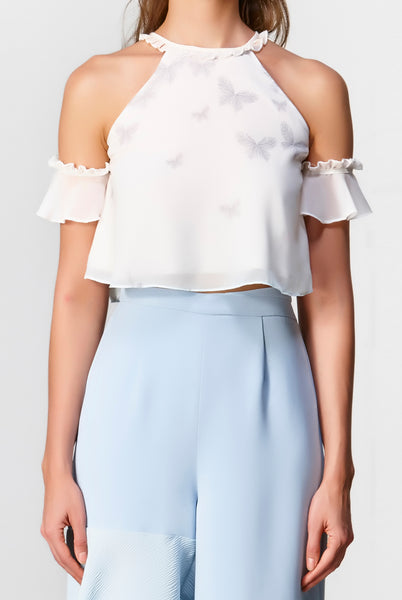 Dawn Cold Shoulder Top (White) - Moxie