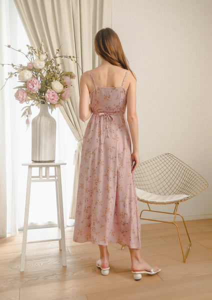Billow Floral Wrap Maxi Dress (Dusty Pink) - Moxie