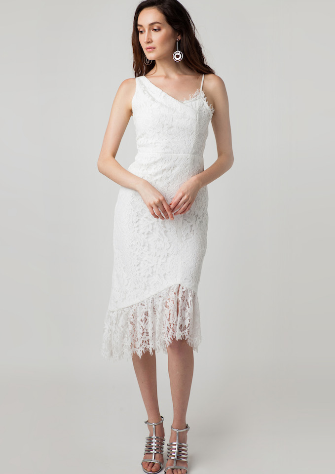 Daisy Lace Drapery Cami Dress (White)