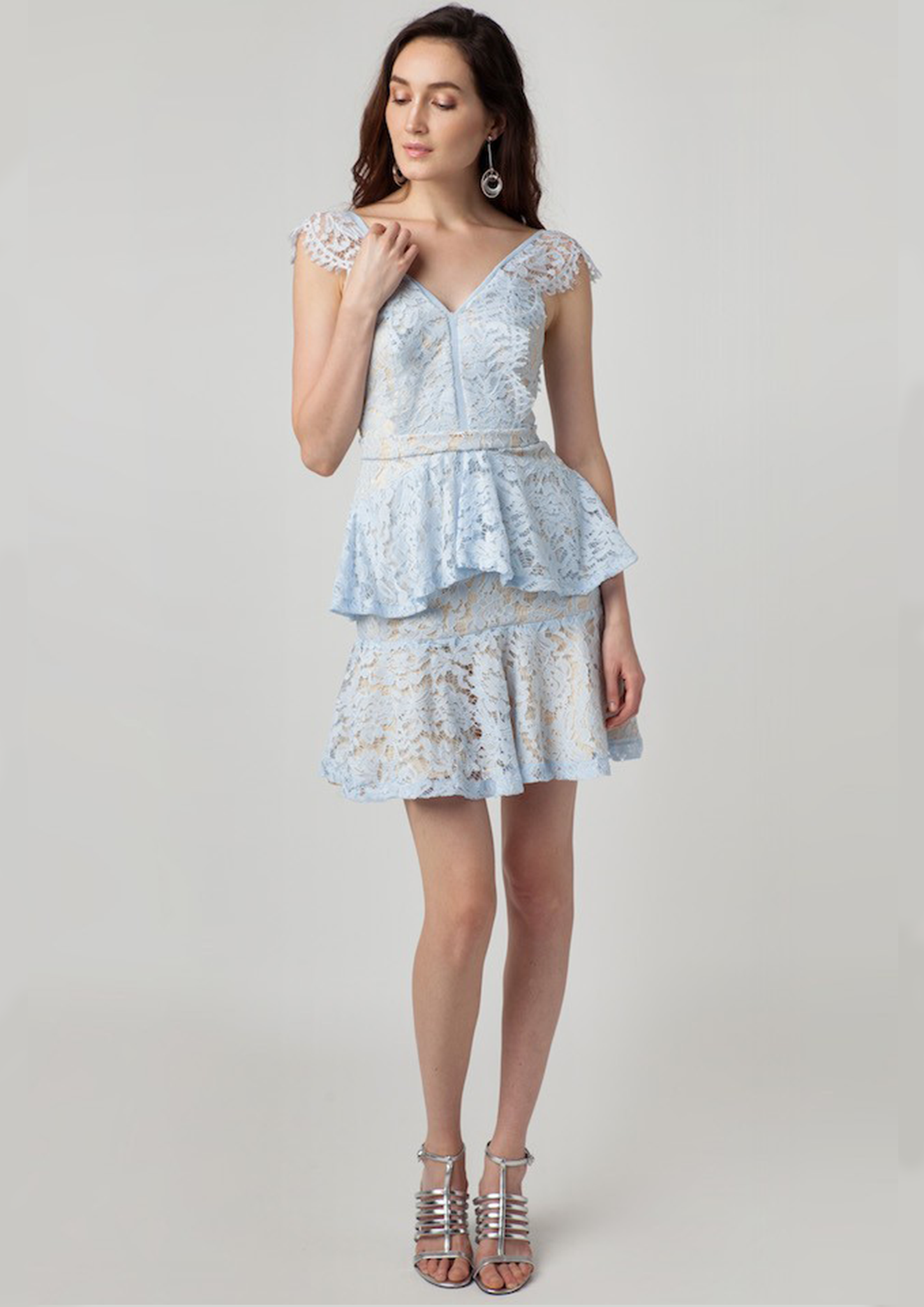 Daisy Lace Ruffle Mini Dress (Sky Blue)
