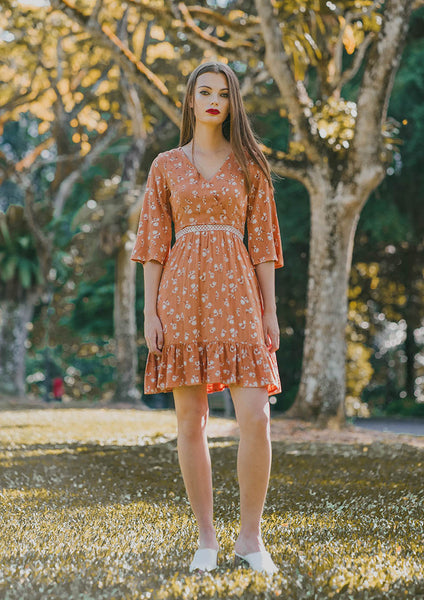 Estelle Ruffled Floral Dress (Burnt Orange) - Moxie