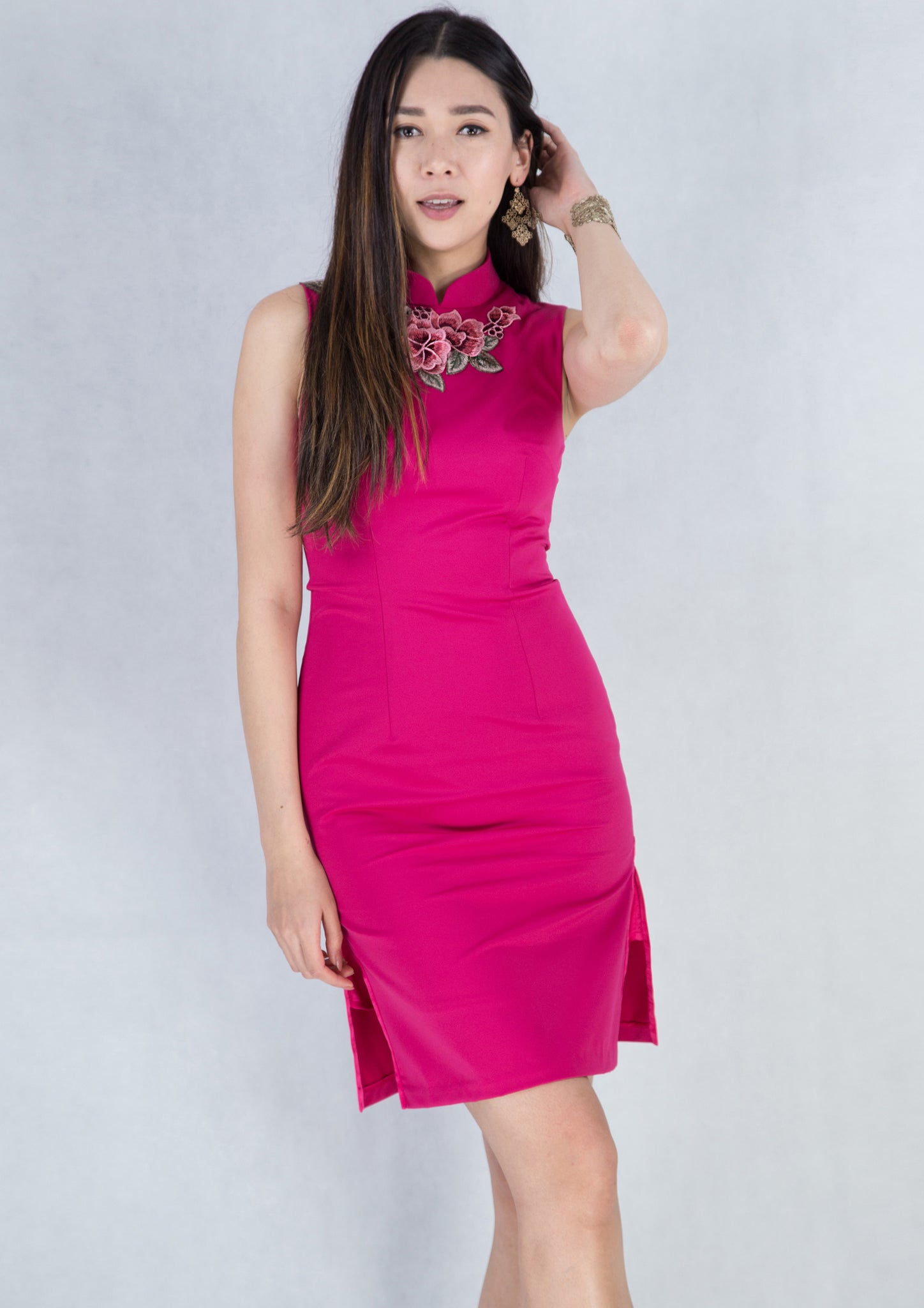 Floral Embroidery Qipao (Shocking Pink) - Moxie
