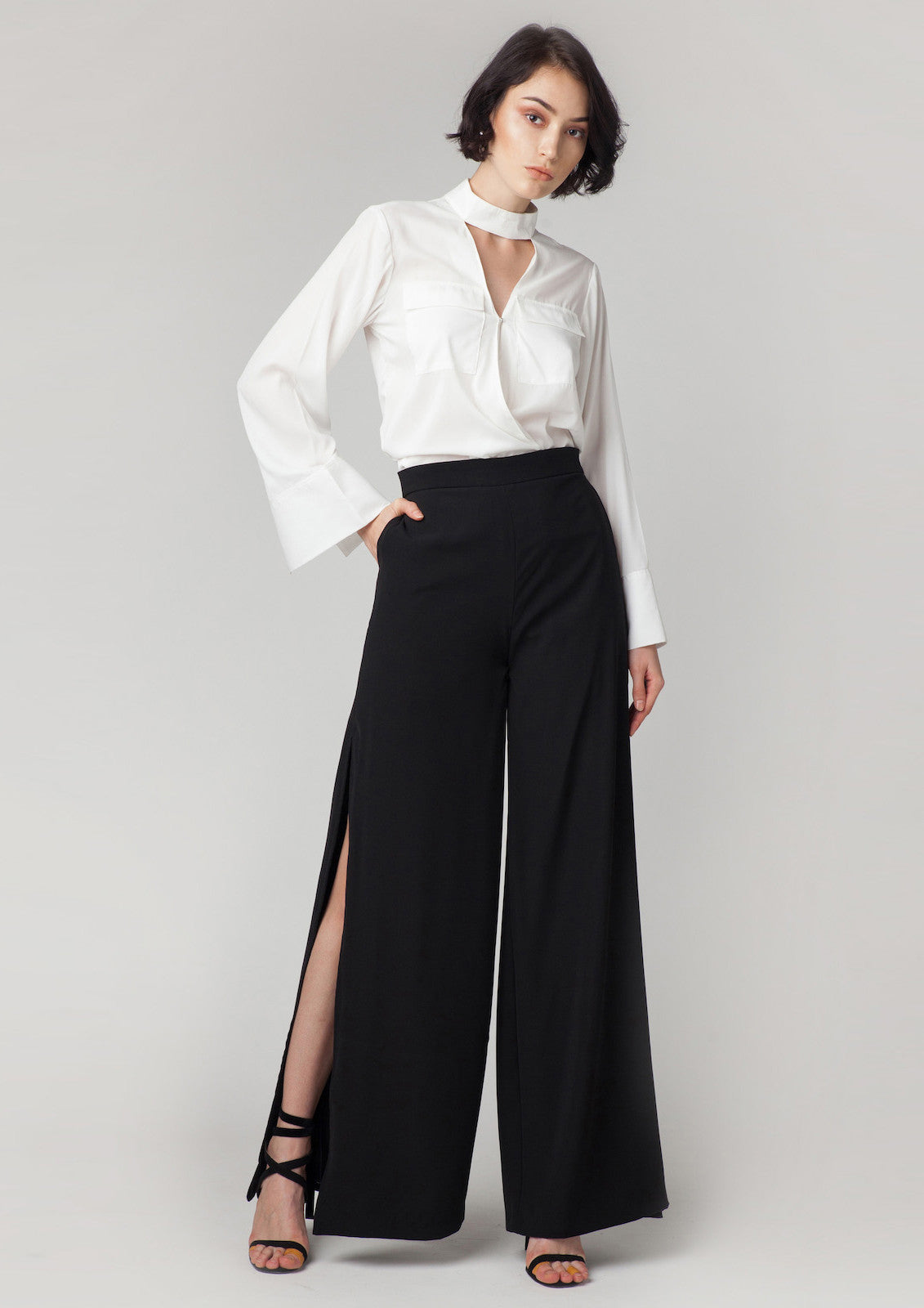 Georgia High Slit Pants (Black)