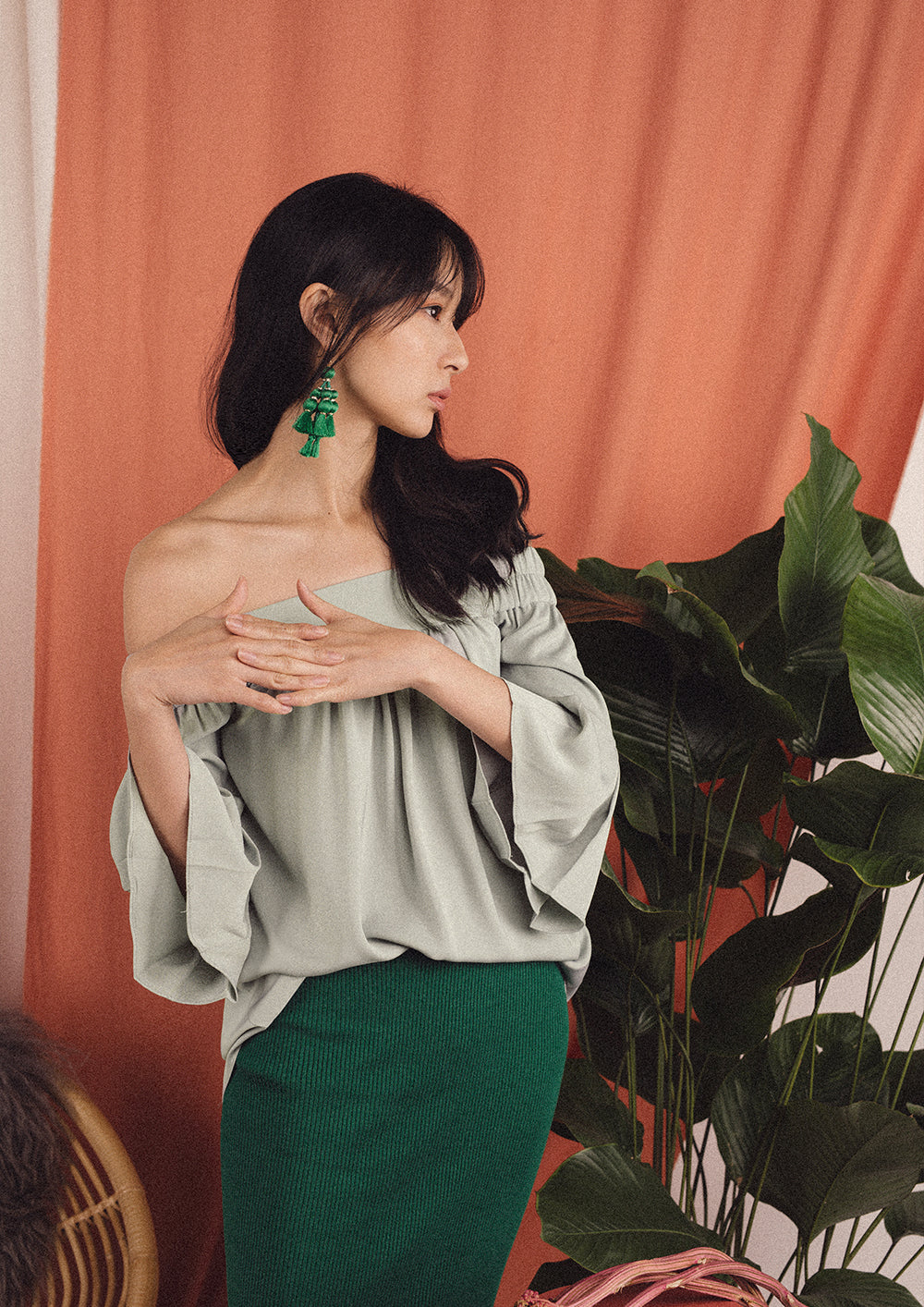 Hera Off Shoulder Top (Mint)